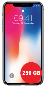 Apple iPhone X 256GB mit SimDiscount Allnet-Flat 1 GB LTE