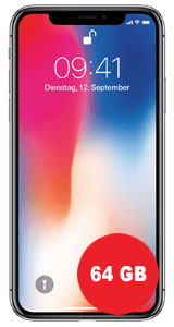 Apple iPhone X 64GB mit SimDiscount Allnet-Flat 1 GB LTE