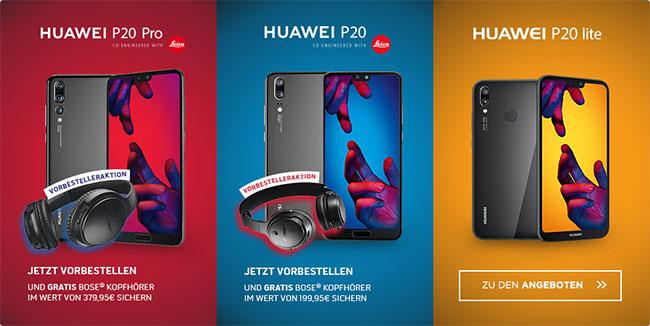 Huawei P20 / P20 Pro / P20 Lite ab 1€ mit Vertrag