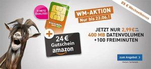 Telekom Netz ► 400MB mit 100 Minuten für 2,99€ + 24€ Amazon Gutschein