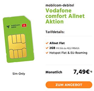 2GB Vodafone Allnet Flat mit Hotspot Flat für rechnerisch 7,49€