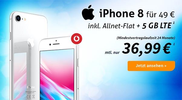 5GB LTE Vodafone Smart L Plus für 36,99€ mit Apple iPhone 8 ab 49€