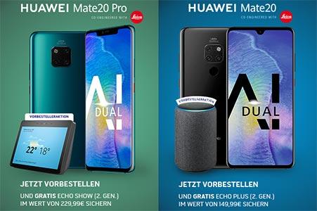 Huawei Mate 20 / Mate 20 Pro vorbestellen ab 1€ mit Vertrag