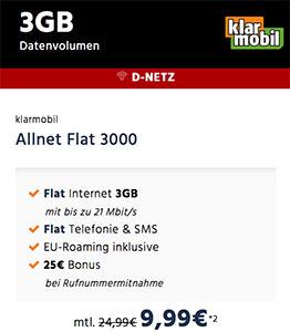 Klarmobil Allnet Flat 3GB für 9,99€ - Vodafone Netz