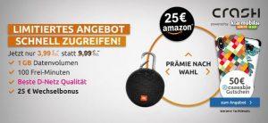 1GB Handyvertrag im Telekom Netz mit 100 Freiminuten für 3,99€ + 25€ Amazon Gutschein