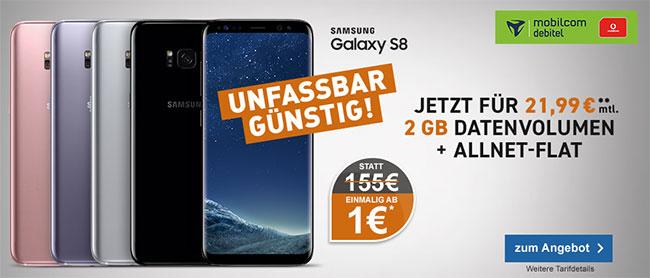 Galaxy S8 für 1€ mit 2GB Mobilcom Debitel Comfort Allnet für 21,99€