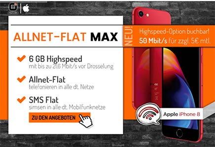 6GB otelo Allnet-Flat Max Highspeed für 34,99€ + TOP Smartphone ab 1€