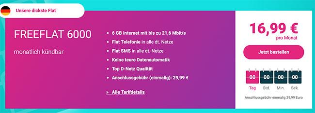 5GB Mobinio Allnet Flat im D-Netz für 17,95€ ohne Datenautomatik