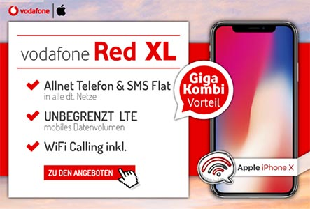 Vodafone RED XL Unlimited mit TOP Smartphone ab 1€