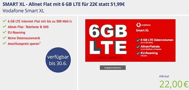 Vodafone Smart XL (6GB LTE) für 22€ pro Monat