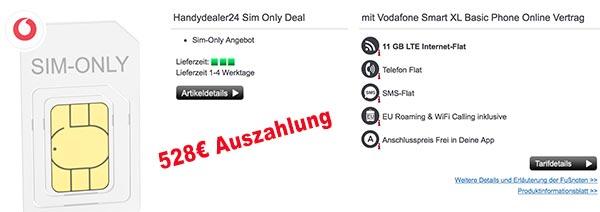 11GB LTE Vodafone Smart XL mit 528€ Auszahlung