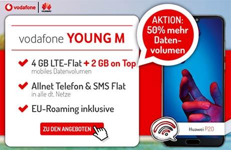 Vodafone Young Tarife mit bis zu 16 GB LTE Internet Flat ab 24,49€