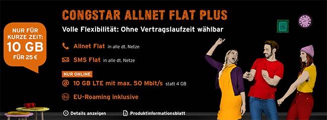 Congstar Allnet Flat Plus (10GB LTE) für 30€ ohne Laufzeit