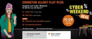 Congstar Allnet Flat Plus (10GB LTE) für 20€ - ohne Laufzeit *Cyber Weekend*