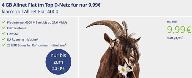 Klarmobil Allnet Flat 4GB für 9,99€ - Vodafone Netz