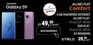 6GB otelo Allnet-Flat Comfort (LTE) mit Galaxy S9 für 49€