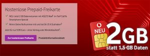 Vodafone CallYa Prepaid Angebote September 2018