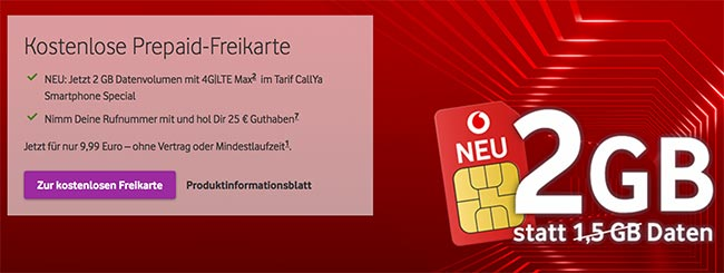 Vodafone CallYa Prepaid Angebote September 2018