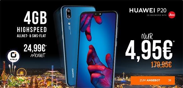 4GB LTE otelo Allnet-Flat Classic LTE für 24,99€ mit Huawei P20 für 4,95€