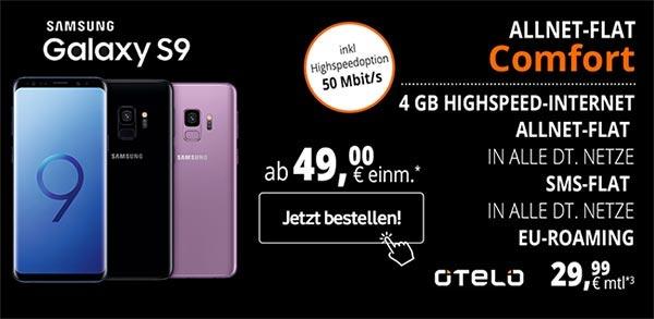 4GB otelo Allnet-Flat Comfort (LTE) mit Galaxy S9 für 49€
