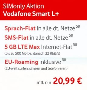 5GB LTE Vodafone Smart L Plus mit 384€ Auszahlung (20,99€ / Monat)