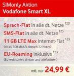 11GB LTE Vodafone Smart XL mit 648€ Auszahlung (24,99€ / Monat)