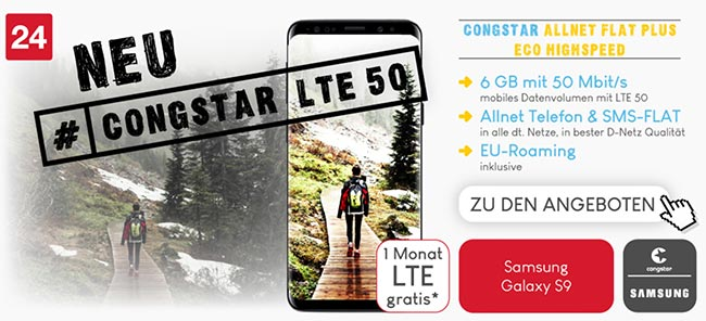 Congstar Allnet Flat (LTE) - Angebote September 2018