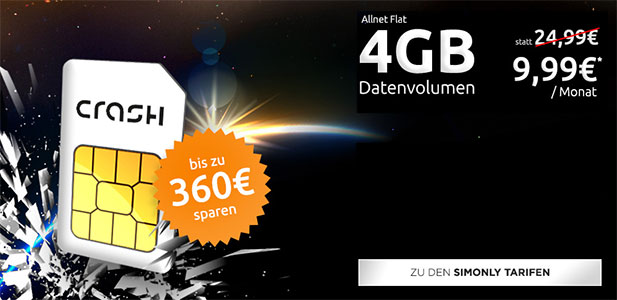 Crash Allnet Flat 4GB für 9,99€ * Vodafone Netz *