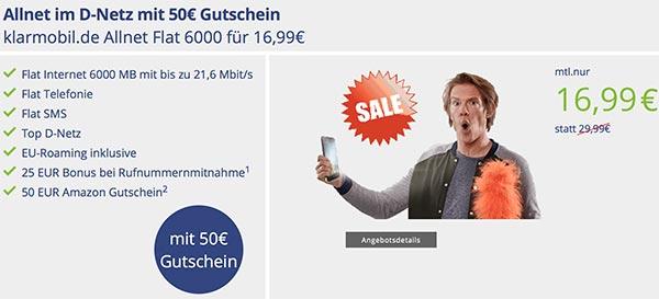 Klarmobil Allnet Flat 6000 für 16,99€ mit 50€ Amazon Gutschein