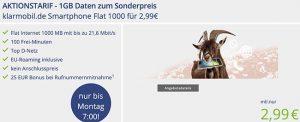 Klarmobil Smartphone Flat 1000 für 2,99€ * Vodafone Netz*