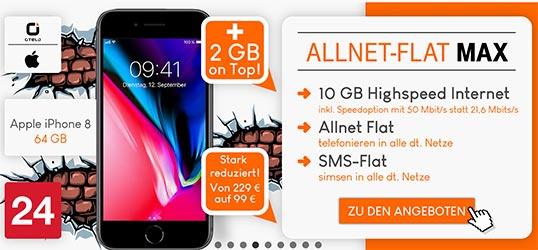 otelo Allnet-Flat Max 10GB - Angebote August 2018
