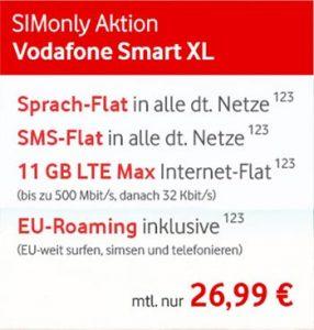 11GB LTE Vodafone Smart XL mit 600€ Auszahlung (26,99€ / Monat)