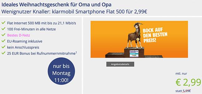 Klarmobil Smartphone Flat - 500MB mit 100 Minuten für 2,99€ *Telekom Netz*