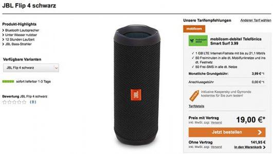 1GB LTE Mobilcom Debitel Smart Surf für 3,99€ mit JBL Flip 4 für 19€ / Galaxy TAB A für 59€