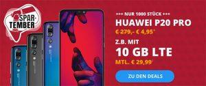o2 Free M Boost (bis zu 20 GB LTE) mit Huawei P20 Pro für 4,95€ uvm.