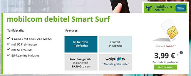 1GB LTE Mobilcom Debitel Smart Surf für 3,99€ mit 6 Monate waipu.tv gratis