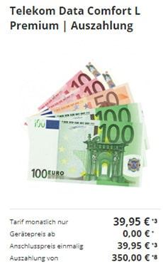 Telekom Data Comfort L Premium mit 350€ Auszahlung
