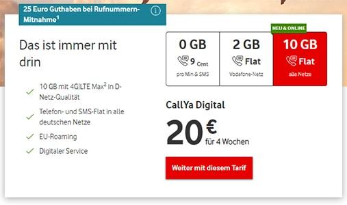 Vodafone CallYa 10 GB Tarif für 20€ pro Monat