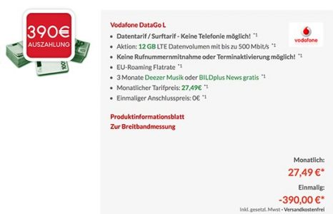 Vodafone DataGO M & DataGO L mit bis zu 390€ Auszahlung