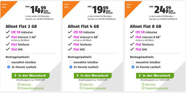 Klarmobil Allnet Flat Tarife (bis zu 8GB) ab 14,99€ / Monat * Telekom LTE Netz *