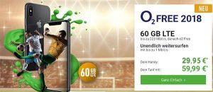 o2 Free L Boost (bis zu 60GB LTE) mit Apple iPhone X ab 29,95€