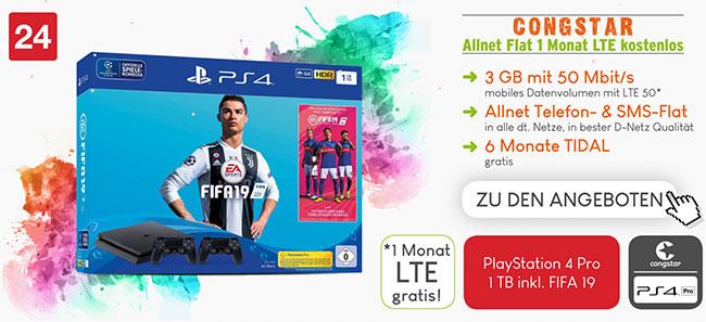 Congstar Allnet Flat Tarife (LTE) mit Sony Playstation 4 für 4,95€ / Huawei P20 Pro für 99€