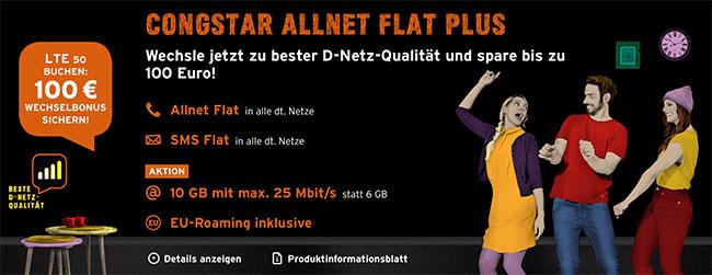 Congstar Wechselwochen mit bis zu 100€ Bonus (bis zu 10GB) *LTE Tarife im Telekom Netz*