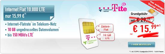 6GB LTE Telekom Internet Flat für 11,99€