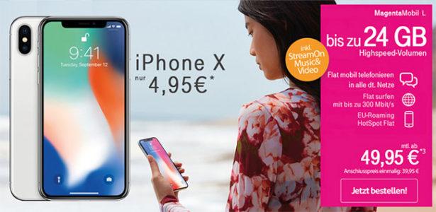 Telekom Magenta Mobil L (bis 24GB LTE) mit Apple iPhone X ab 4,95€