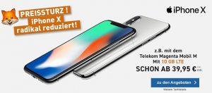 Telekom Magenta Mobil M / M Young mit Apple iPhone X ab 45€