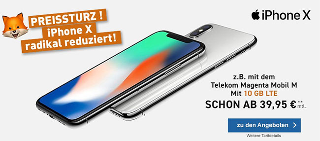 Telekom Magenta Mobil M / M Young mit Apple iPhone X ab 45€