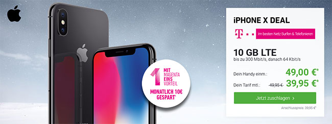 Telekom Magenta Mobil M / M Young mit Apple iPhone X ab 49€ | iPhone Xr ab 4,95€