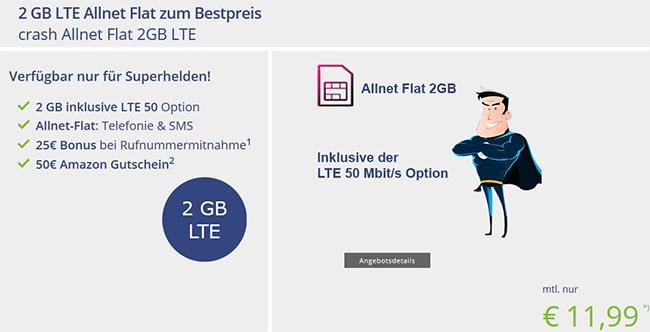 2GB Telekom LTE Allnet Flat für 11,99€ + 50€ Amazon Gutschein
