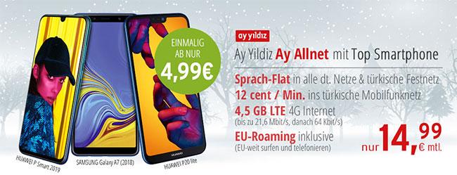 Ay Yildiz Ay Allnet (4,5GB LTE) für 14,99€ mit Huawei P20 lite für 4,99€